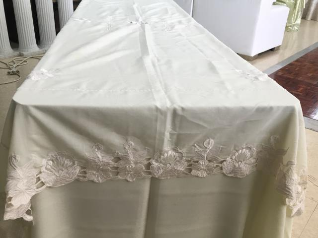 Where to find IVORY 108X56 VINTAGE SATIN CUTWORK in Batesville